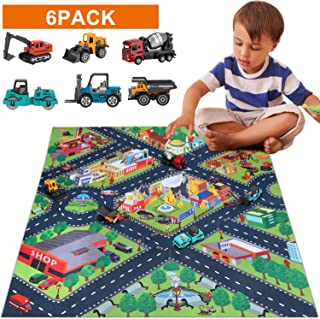 Construction Vehicles Truck Toys Set with Play Mat, Mini Engineering Diecast Trucks Toys, Alloy Metal Car Trucks Play Set with Playmat, 6 color Trucks toys and Play Mat, Toy Trucks for Toddlers, Kids