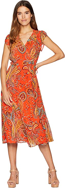 Rustic Paisley Wrap Dress
