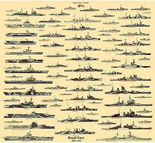 Meishe Art Poster Print UK Navy Battleship UK Warship Royal Naval United Kingdom WW2 Collection Identification Reference Wall Decor
