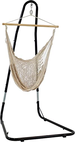 wholesale Sunnydaze wholesale Outdoor Mayan Hammock Chair with Stand - Large outlet sale Hanging Chair Swing with Adjustable Stand - 220 Pound Capacity - Natural outlet online sale