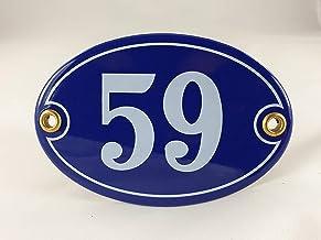 Emaille huisnummer bord nr. 59, ovaal, blauw-wit Nr. 59 Blau-Weiß