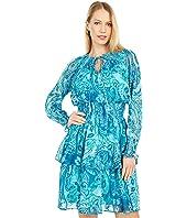 Paisley Chiffon Tiered Dress with Smocking Trim