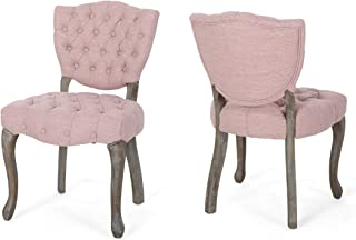 Case Tufted Dining Chair with Cabriole Legs (Set of 2), Light Blush and Brown Wash Finish