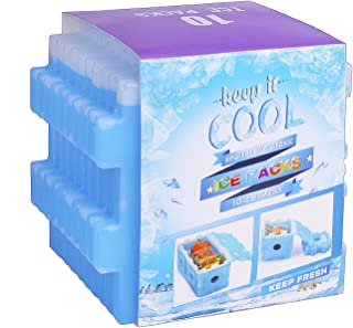 OICEPACK Ice Packs, Reusable Ice Pack for Lunch Box, Freezer Ice Packs for Coolers, Slim Long-Lasting Cool Pack for Lunch Bags and Cooler Bags, Blue (Cube Set of 10)