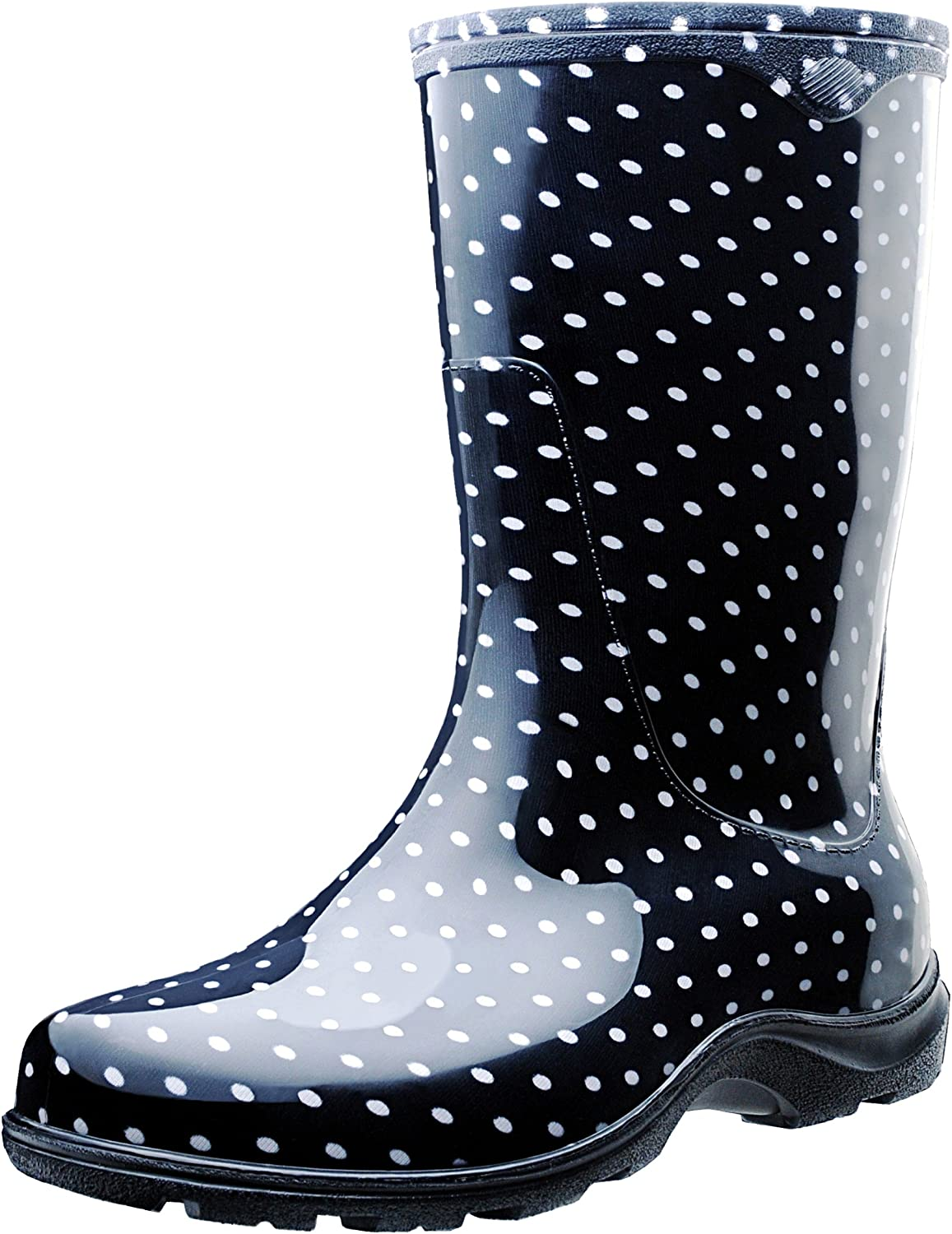 Sloggers Women's Waterproof Rain and Garden Boot with Comfort Insole, Black White Polka Dot, Size 7, Style 5013BP07