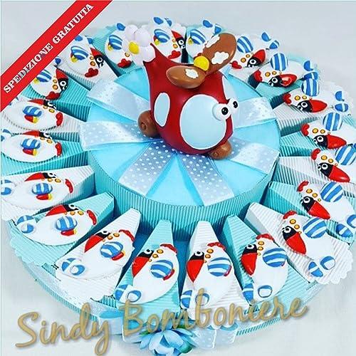 Bonboniere Gastgeschenk für Geburtstag Taufe Baby Flugzeug Magnet Versand inklusive Torta da 35 fette