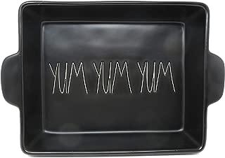 Rae Dunn By Magenta YUM YUM YUM Black Ceramic LL 10.5 x 8.75 Baking Dish