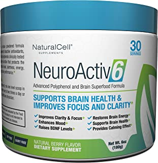 NeuroActiv6 - Reds Superfood Powder with Coffee Fruit Extract, Ashwagandha, Citicoline: Caffeine-Free BDNF Brain Energy to Improve Memory, Boost Focus, Enhance Clarity, Support Mood - 30 Servings