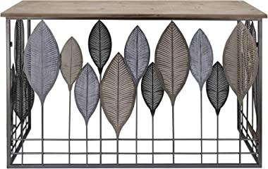 Benjara Wooden Top Console Table with Metal Leaf Embellishment, Brown and Gray