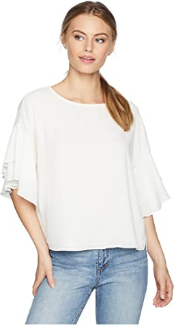 Petite Drop Shoulder Tiered Sleeve Textured Blouse