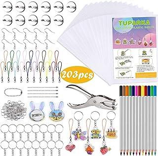 TUPARKA 203 Pcs Heat Shrink Plastic Sheet Kit,25 Shrink Film Sheets Art Paper,Hole Punch,Colored Pencils and 165 Pieces Ke...