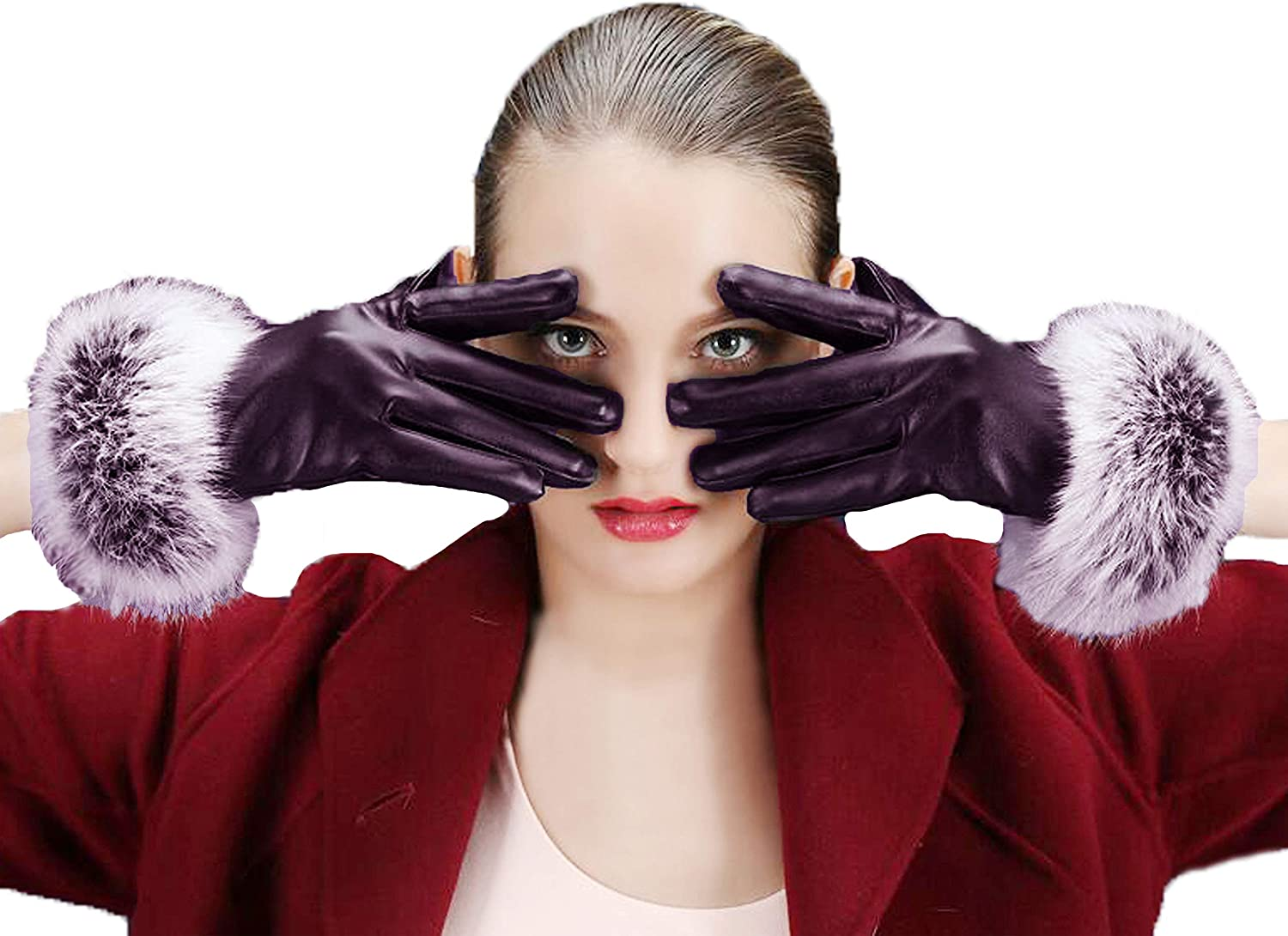 Lovful Women's Winter Faux Leather Touchscreen Texting Gloves Fur Trim Cuff