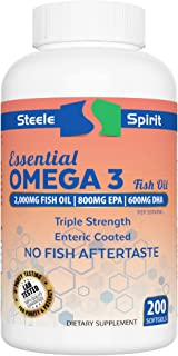 Fish Oil Omega 3 EPA DHA Supplement - NO Fish BURPS - 100% Tasteless, Odorless, Pure - 200 Enteric Coated Burpless Capsules - by Steele Spirit