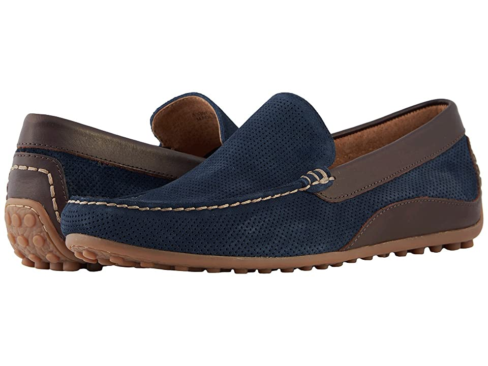 Florsheim Oval Perf Driver (Navy Suede/Brown Smooth) Men