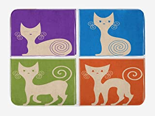 Funny Bath Mat, Cartoon Cats Whiskers Emotion Happy Confused Curious Goofy Kitty Print, Plush Bathroom Decor Mat with Non Slip Backing, Purple Blue Green Orange,Size:15.7X23.6 inches,40cmX60cm