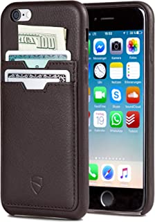 Vaultskin SOHO Leather Wallet Case for iPhone 6 & 6S - Ultra Slim Bumper 2 Pockets Brown PHSOH2IP6BR