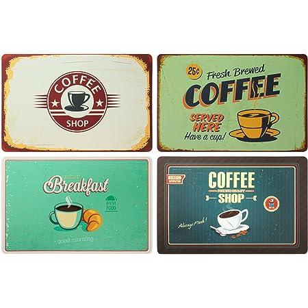 ootb Juego de 4 manteles individuales: Coffee Retro Look Desayuno Café Retro Cartel Coffee Shop – Mesa/Mantel/Mantel/Salvamanteles de mesa/Salvamante/Salvamanteles de plástico/Lavable/43 x 28 cm