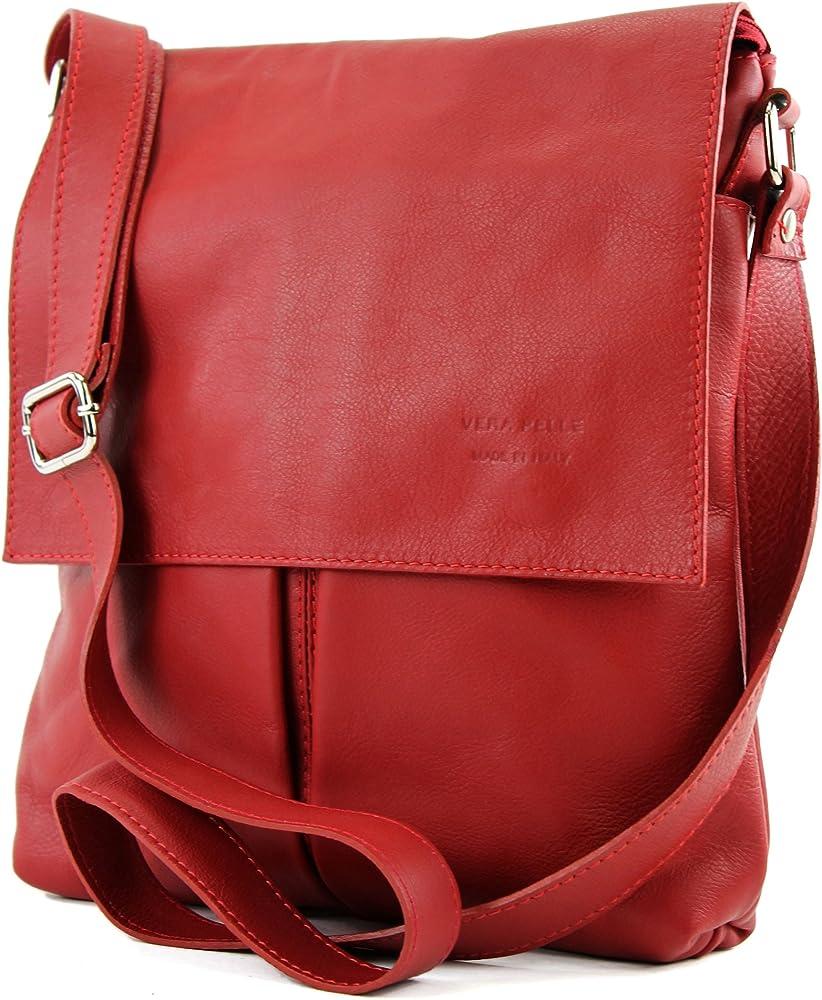 Modamoda de t75 – borsa a tracolla per donna, in  pelle morbia, rosso1 T75DR2
