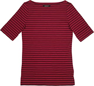 e6037deff2 FREE Shipping on eligible orders. LAUREN RALPH LAUREN Women's Stretch Cotton  Boat Neck Tee