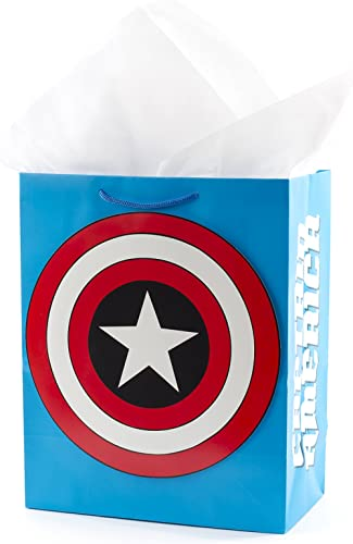 """Hallmark 13"""" Large Avengers Gift Bag with Tissue Paper (Captain America Shield) for Christmas, Halloween, Father's Da..."""