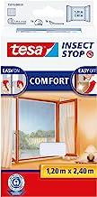 tesa Insect Stop COMFORT Klittenband voor Franse ramen, Hor, verwijderbaar en herbruikbaar, wasbaar, 120 cm x 240 cm, wit