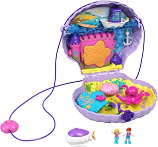 Polly Pocket Tiny Power Seashell Purse Compact with Wearable Strap, Fun Under-The-Sea Features, Micro Polly and Lila Mermaid Dolls, 2 Accessories & Sticker Sheet; for Ages 4 Years Old & Up