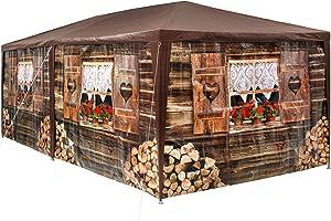 TecTake 402985 - Tonnelle de Jardin Motif Chalet 3x6 m, 6 Parties latérales Amovibles, Charpente métallique Stable