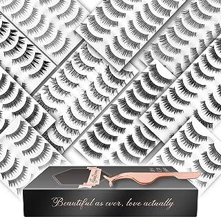 100 Pairs 10 Styles False Eyelashes Sets, FinyDreamy Handmade Soft Band Natural Wispy False Lashes Pack with Professional Fake Eyelashes Applicator For Women
