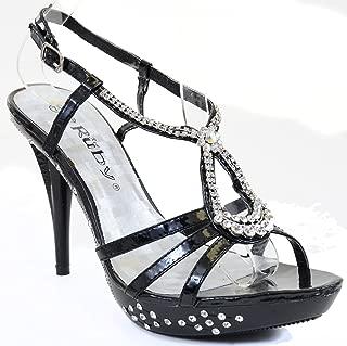Fourever Funky Jeweled Formal Wedding Bridal Low Heel Open Toe Platform Sandal