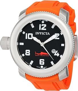 Invicta Sea Hunter russo Mission orologio 1690con fondello quadrante e cinturino in gomma arancione