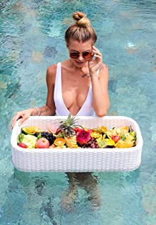 Luxury Floating Serving Tray Table and Bar - Swimming Pool Floats for Adults for Sandbars, Spas, Bath, and Parties | Floating Tray for Pool Serving Drinks, Brunch, Food on the Water