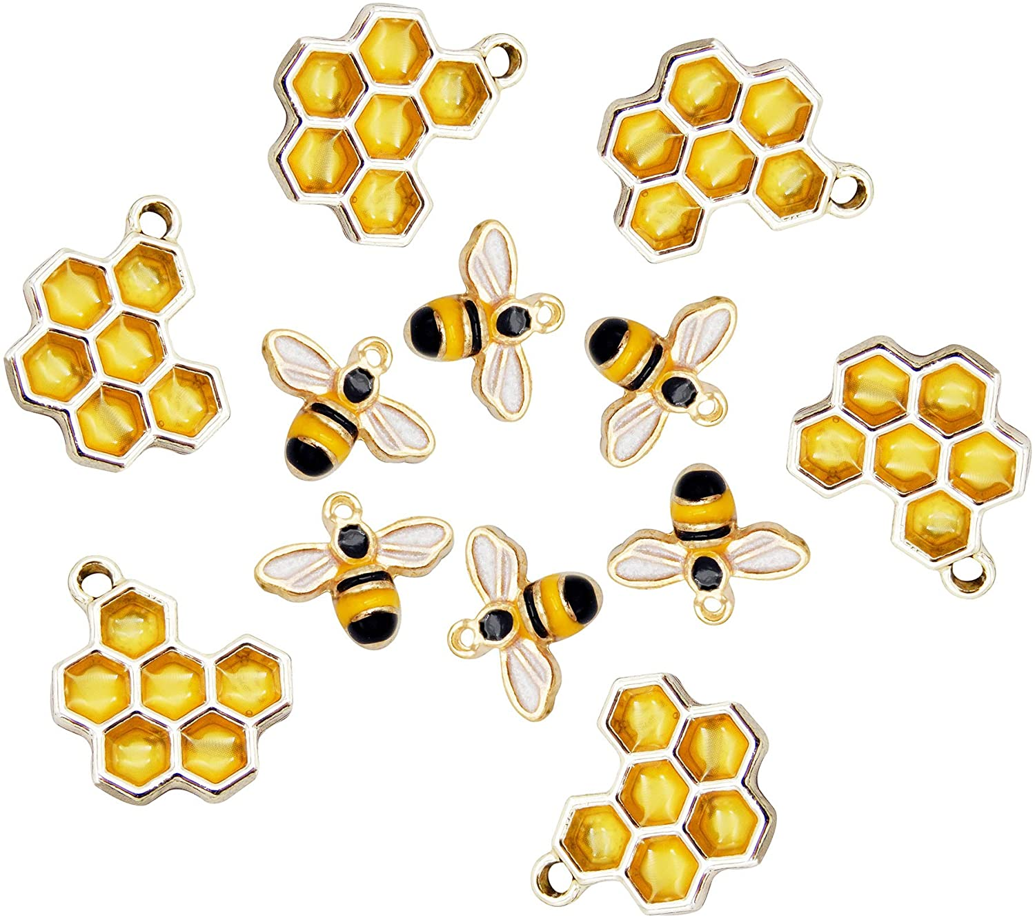40pcs Honeycomb Bee New sales Enamel All items free shipping Charms Making Wh Bracelet for Jewelry