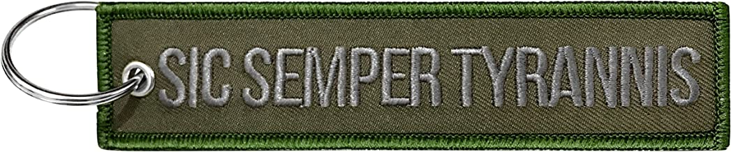 Military Sic Semper Tyrannis Keychain Tag with Key Ring, EDC for Servicemen, Car, Motorcycle