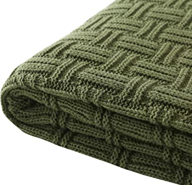 TREELY 100% Cotton Knitted Throw Blanket Couch Cover Blanket(60 x 80 Inches, Green Forest)