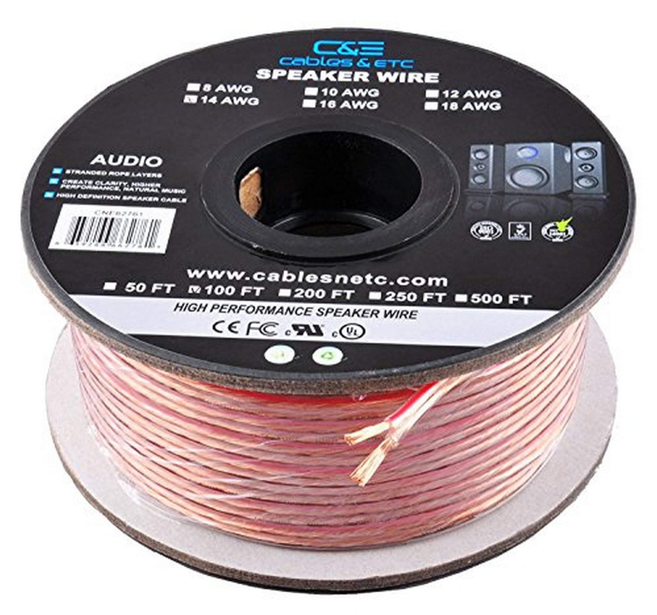9 Feet 9AWG Enhanced Loud Oxygen-Free Copper Speaker Wire Cable, CNE9