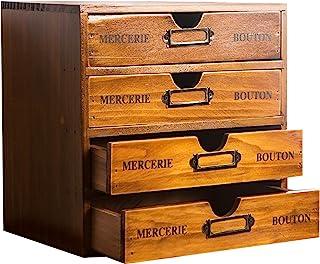 Primo Supply Home Office Desk Organizer with 4 Storage Drawers - Wooden Storage Box - Rustic Dresser - Vintage Desk Organi...