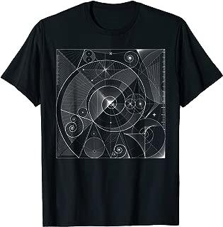 Sacred Geometry T Shirt Fibonacci, White Golden Spiral