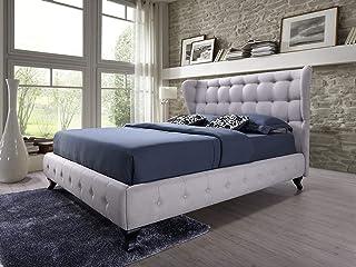 Abella Lit capitonné en tissu beige clair 140 x 200 cm + tête de lit rembourrée / lit avec support de matelas en bois / mo...