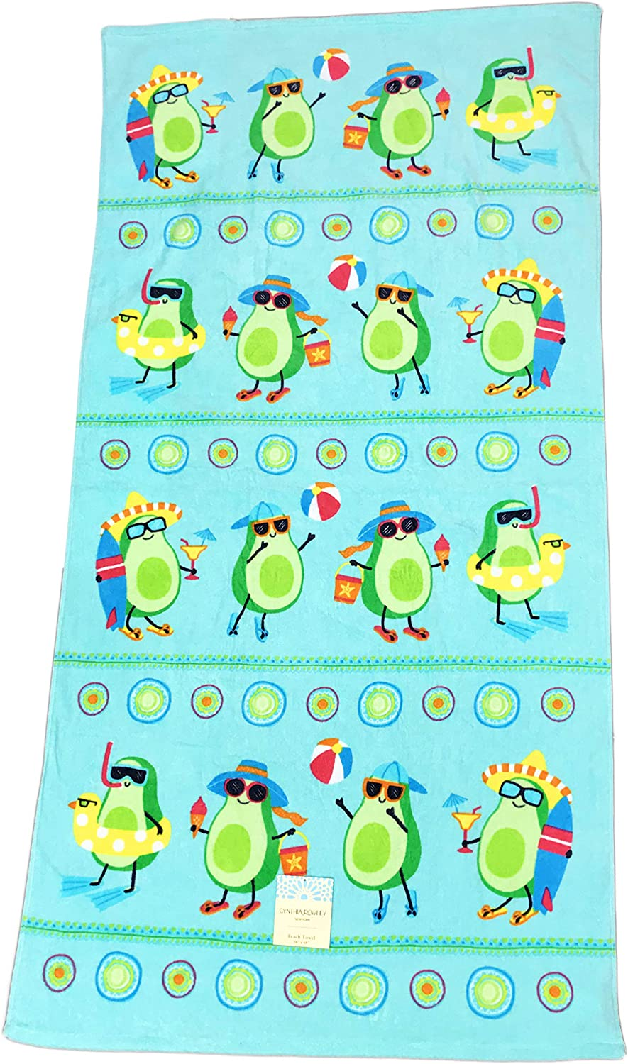 Cute Avocado's Playing at The Beach 100% Cotton Novelty Summer Beach Pool Towel 36  x 68