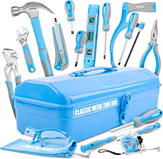 Hi-Spec 33 Piece Classic Home Workshop DIY Hand Tools Set in Retro Style Sheet-Metal Carry Box with Hacksaw, Pliers, Hammer, Screwdrivers & Safety Goggles – Great DIY Gift Toolkit