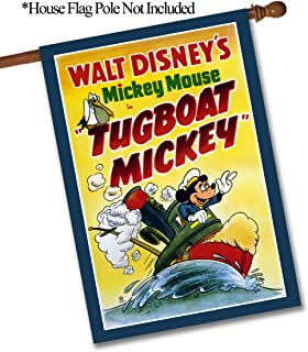 """Flagology.com, Disney,Mickey Mouse, Tugboat Mickey Classic Poster – House Flag – 28"""" x 40"""", Outdoor, Large, Exclusive Premium Fabric, Printed on Both Sides, Officially Licensed Disney"""