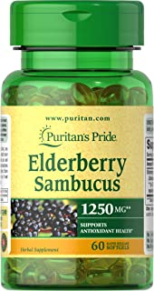 Elderberry Sambucus by Puritan's Pride, Supports Antioxidant Health, 1250mg, 60 Softgels (31240)