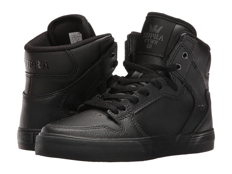 Supra Kids Vaider (Little Kid/Big Kid) (Black/Black 1) Boys Shoes