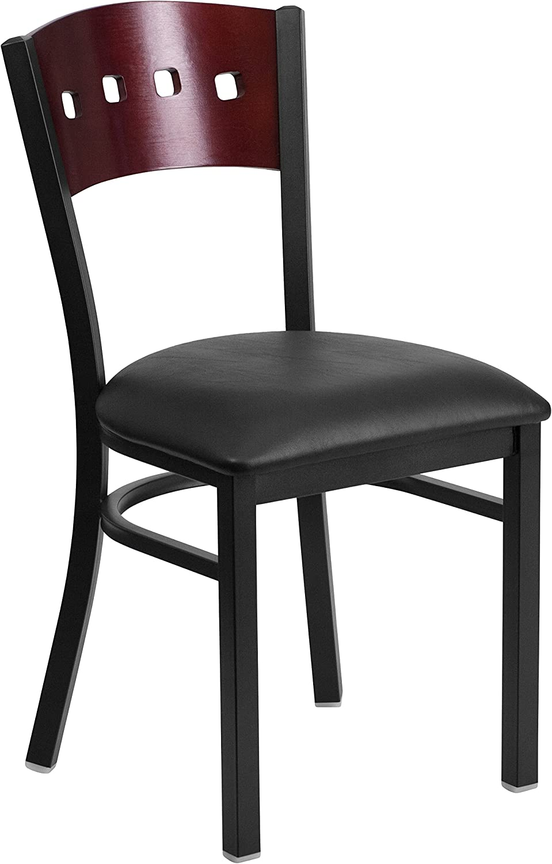 Flash Furniture Hercules Series Black Decorative 4 Square Back Metal Restaurant Chair with Mahogany Wood Back, Black Vinyl Seat