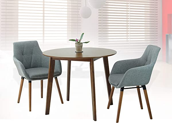 Rattan Wicker Furniture Dining Kitchen Set Of 3 Piece Round Wooden Medium Brown Table With 2 Alba Armchairs Light Gray Color