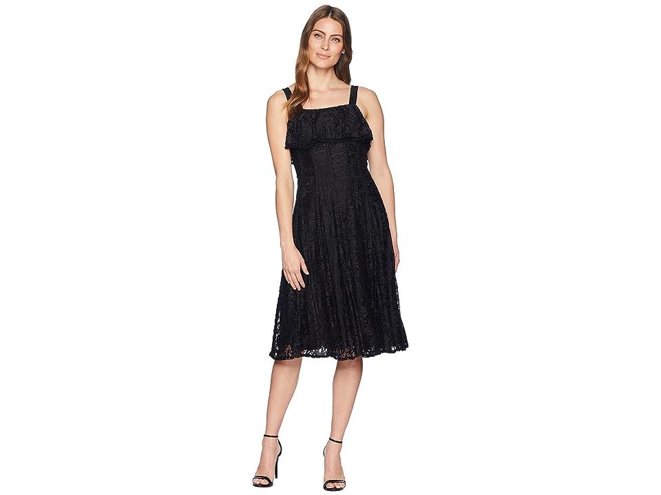 Taylor Sleeveless Lace Dress with Pom Poms (Black) Women