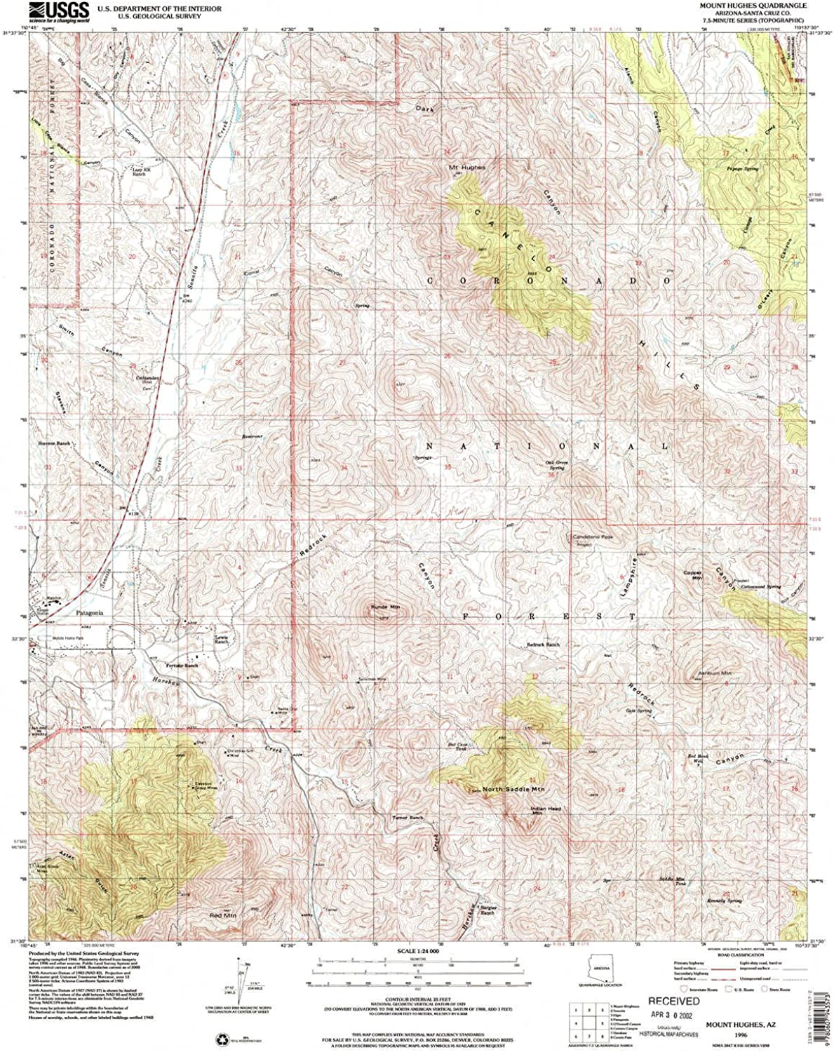 Mt Hughes AZ topo map, 1 24000 Scale, 7.5 X 7.5 Minute, Historical, 1996, Updated 2002, 26.9 x 22 in
