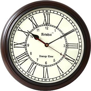 Artshai 12 inch Big Antique Look Wooden Wall Clock,1 Year Warranty (Coffee Brown)