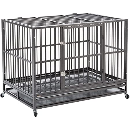 """walnest Dog Cage Crate Kennel Heavy Duty Double Door Pet Cage with Metal Tray Wheels Exercise Playpen (48"""", Sliver)"""