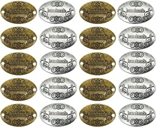 EvaGO 60 Pieces Metal Handmade Tag Label Handmade Tags Button with 2 Holes Metal Tag Signs for Jewelry Making Crafts, Sewi...